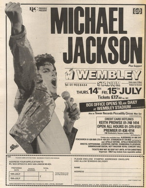 Concert poster from Michael Jackson - Wembley Stadium, London, United Kingdom - 15. Jul 1988