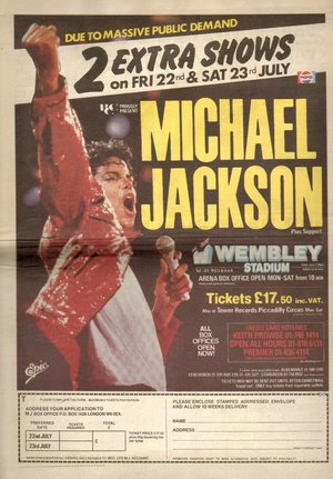 Concert poster from Michael Jackson - Wembley Stadium, London, United Kingdom - 22. Jul 1988