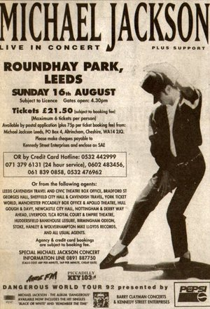 Concert poster from Michael Jackson - Roundhay Park, Leeds, United Kingdom - 16. Aug 1992