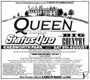 Concert poster from Queen - Knebworth Park, Knebworth, Hertfordshire, England - 9. Aug 1986