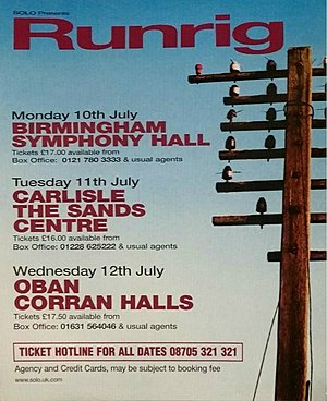 Concert poster from Runrig - Symphony Hall, Birmingham, United Kingdom - 10. Jul 2000