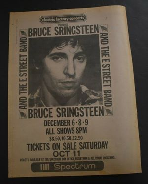Concert poster from Bruce Springsteen - First Union Spectrum, Philadelphia, PA, USA - 8. Dec 1980