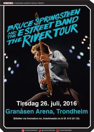 Concert poster from Bruce Springsteen - Granåsen Arena, Trondheim, Norway - 26. Jul 2016