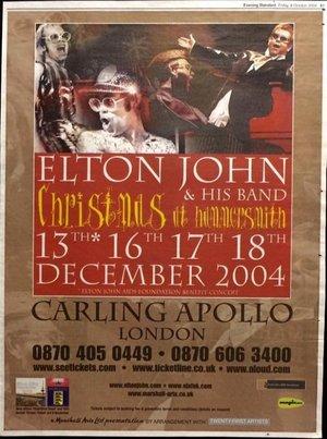 Concert poster from Elton John - Carling Apollo Hammersmith, London, England - 18. Dec 2004