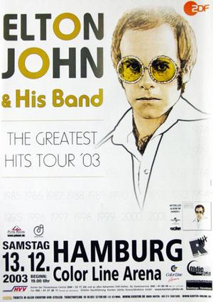 Concert poster from Elton John - Color Line Arena, Hamburg, Germany - 13. Dec 2003