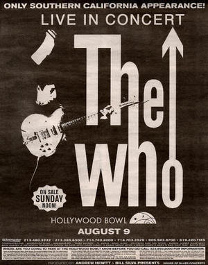 Concert poster from The Who - Hollywood Bowl, Los Angeles, CA, USA - 9. Aug 2004