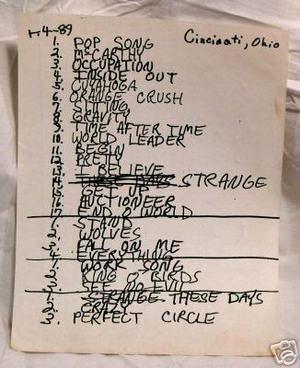 Setlist photo from R.E.M. - Firstar Center, Cincinnati, OH, USA - 4. Apr 1989